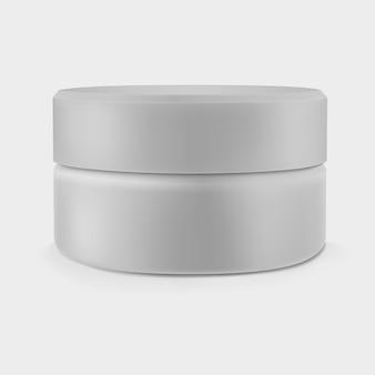 Pot de crème gris fermé isolé