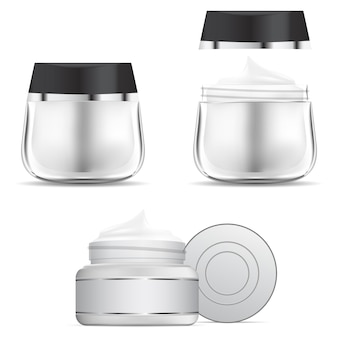 Pot de crème. modèle de bouteille en verre de crème cosmétique