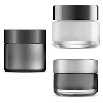 Pot de crème noire. emballage cosmétique en verre. peut pour la crème pour le visage.