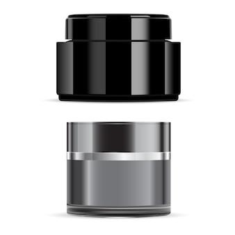 Pot de crème noire, paquet de crème cosmétique brillante pour le visage