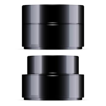 Pot de crème noire. pots cosmétiques.