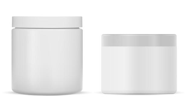 Pot de crème en plastique blanc paquet de crème cosmétique