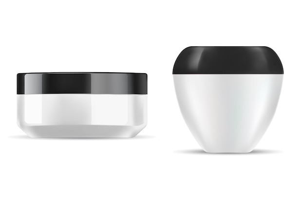 Pot de crème en plastique blanc pour illustration de récipient cosmétique