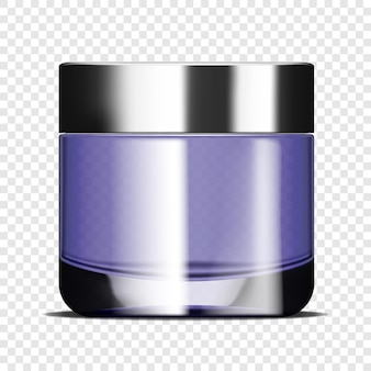 Pot de crème pour le visage rond en verre transparent sur une maquette de vecteur réaliste de fond transparent