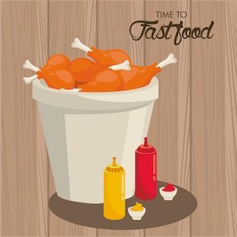 Pot de cuisses de poulet avec des bouteilles de sauces délicieuse illustration de restauration rapide
