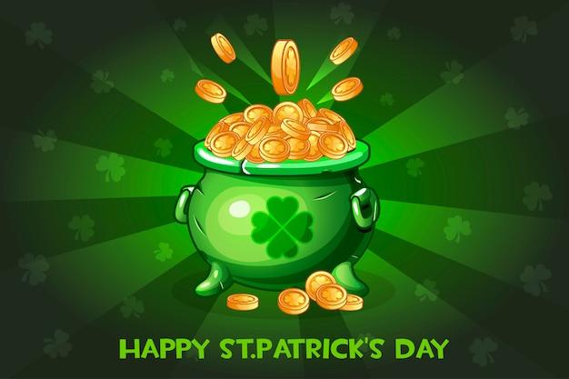 Pot de dessin animé avec pièce. illustration happy st.patrick's day