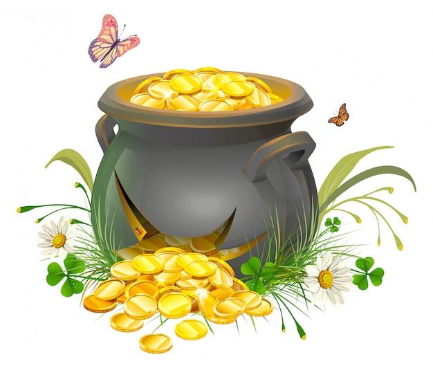 Pot avec fente d'or