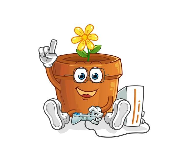 Le pot de fleurs jouant à des jeux vidéo. personnage de dessin animé