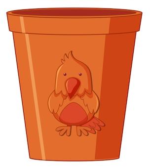 Un pot de fleurs marron
