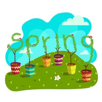 Pot de fleurs de printemps
