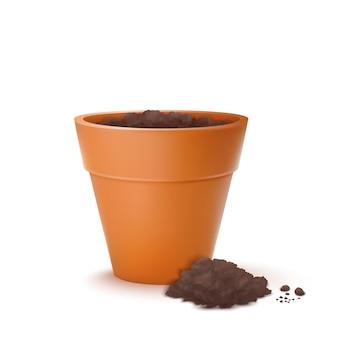 Pot de fleurs avec terre