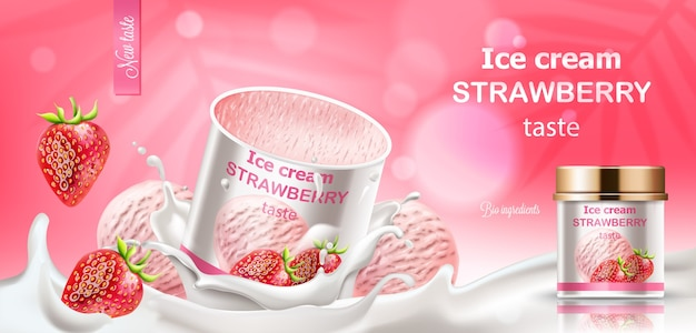 Pot de glace à la fraise immergé dans le lait avec des baies et des boules qui tombent. ingrédients bio. réaliste