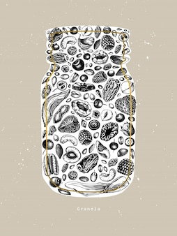 Pot de granola vintage. illustration de petit-déjeuner sain gravé. granola maison avec des baies, des céréales, des fruits secs et des noix. modèle d'aliments sains avec des éléments dorés et esquissés