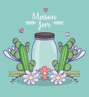 Pot de maçon fleurs décoration de feuilles de cactus