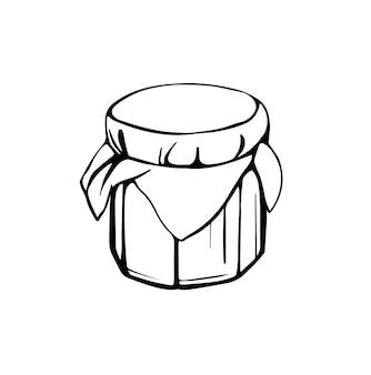 Un pot de miel ou de confiture de miel d'abeille isolé