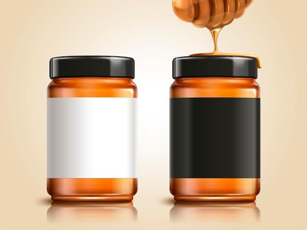 Pot de miel avec des étiquettes vierges pour les utilisations de conception dans l'illustration 3d, élément de louche de miel
