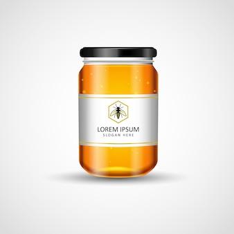 Pot de miel maquette conception d'étiquettes de placement de produit illustration vectorielle
