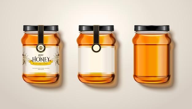 Pot de miel pur, vue de dessus des bocaux en verre avec du miel en illustration, certains avec des étiquettes et un emballage