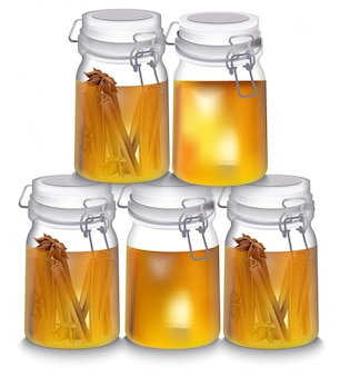 Pot de miel réaliste vector illustration. saveur de cannelle