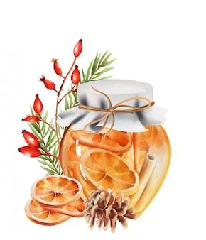 Pot de miel avec des tranches d'orange et des bâtons de cannelle à l'intérieur