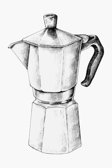 Pot à moka dessiné à la main