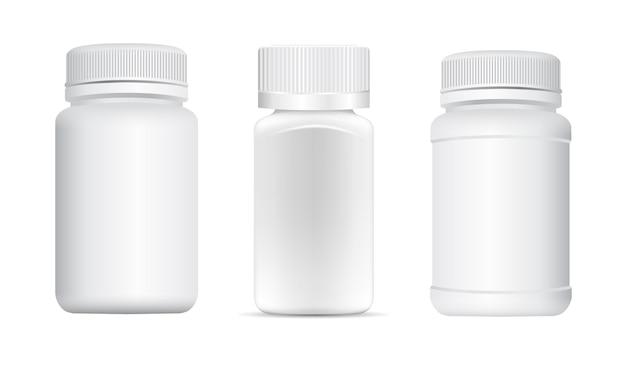 Pot à pilules. bouteille de supplément, pot de capsule, échantillon de petit conteneur 3d.