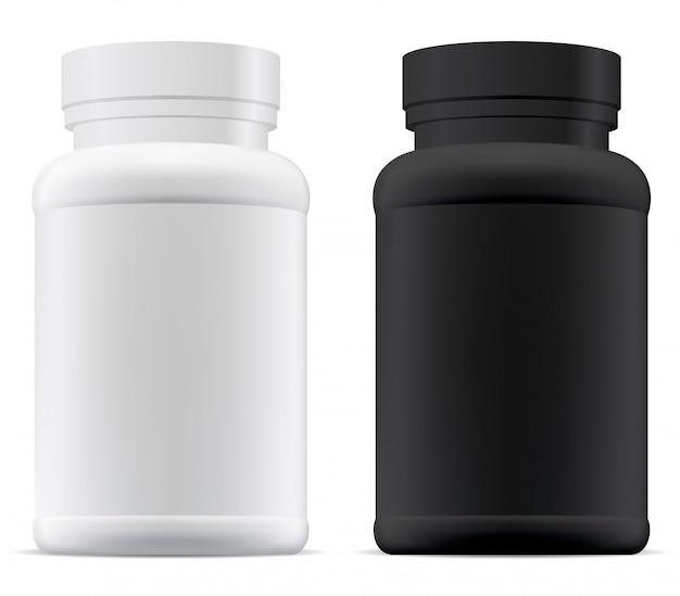 Pot à pilules noir et blanc. bouteille de supplément