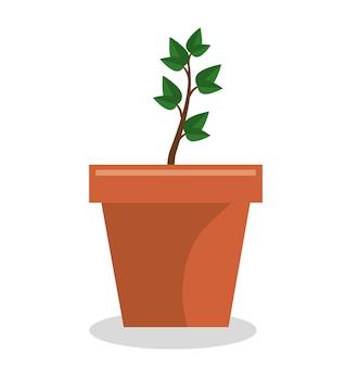 Pot de plante jardin isolé icône vector illustration design