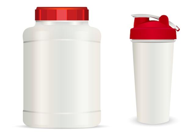 Pot en plastique blanc réaliste, bouteilles de boisson shaker.