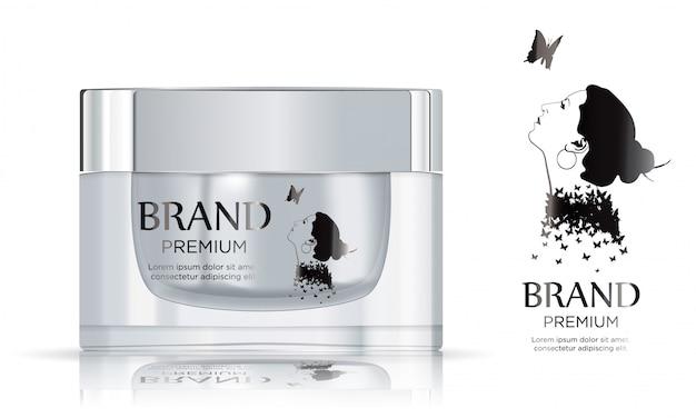 Pot en plastique blanc rond avec couvercle en métal pour les cosmétiques