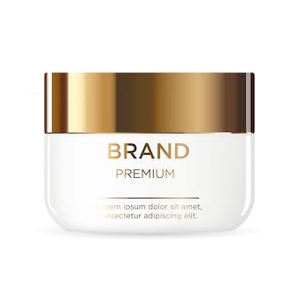 Pot en plastique blanc rond avec couvercle en or pour produits cosmétiques