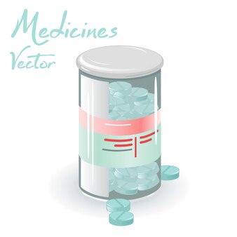 Pot en plastique avec couvercle plein de médicaments bleus pour la santé.