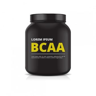 Pot en plastique noir sur fond blanc. nutrition sportive, protéine de lactosérum ou gaineur