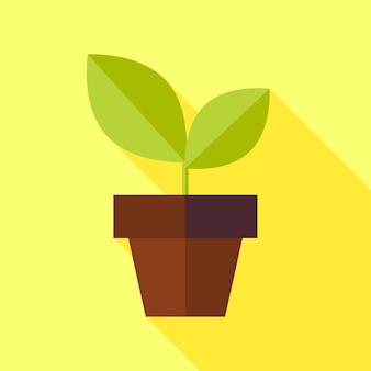 Pot plat de nature de biologie avec l'illustration d'usine avec l'ombre longue. illustration vectorielle. biologie naturelle plante à feuilles vertes. objet agriculture et jardin fleuri