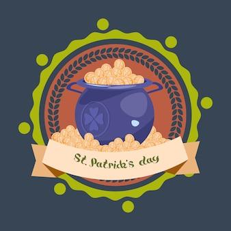 Pot plein de pièces d'or heureux st. patricks day décoration fond ou carte de voeux