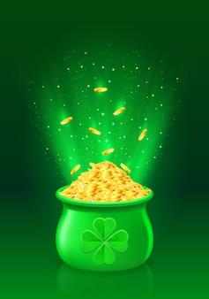 Pot avec plein de pièces d'or