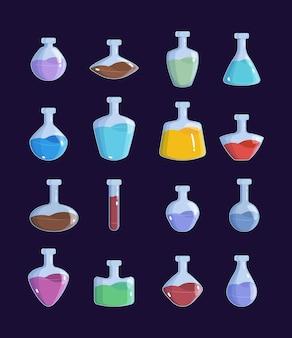 Pot de potion. ensemble d'images vectorielles antidotes d'objets de conception de jeux de bouteilles magiques de sorcellerie. illustration élixir et potion pour jeu, flacon antidote