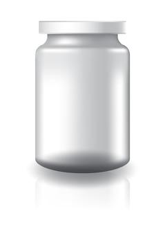 Pot rond clair blanc avec couvercle blanc de taille moyenne.