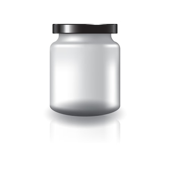 Pot rond transparent avec couvercle noir.