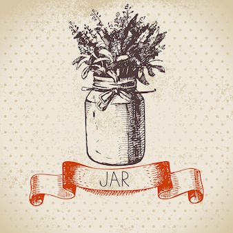 Pot rustique avec bouquet de lavande. conception de croquis dessinés à la main vintage. illustration vectorielle