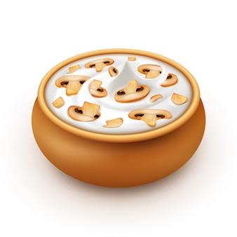 Pot de sauce aigre avec des champignons en tranches isolés