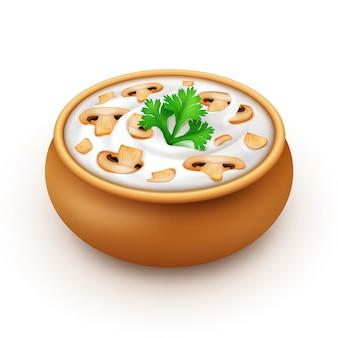 Pot de sauce en céramique avec persil et champignons