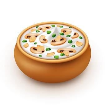 Pot de sauce crémeuse aux oignons verts, champignons