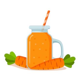 Pot avec smoothie aux carottes