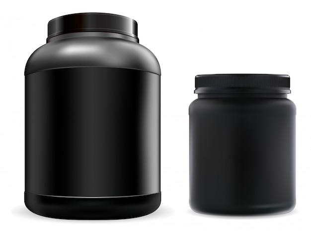 Pot de supplément de protéines. conteneur noir