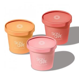 Pot de tasse de papier de crème glacée recyclable pour collation alimentaire cosmétiques soins de la santé soins de santé 3d illustration de soleil