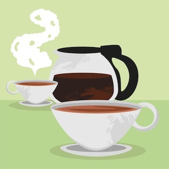 Pot avec des tasses de café