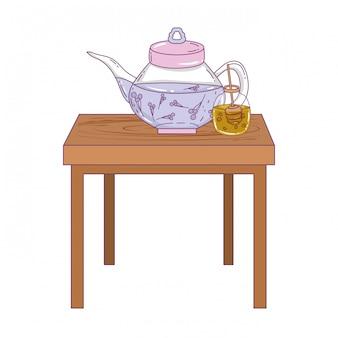 Pot à thé et pot de miel isolés