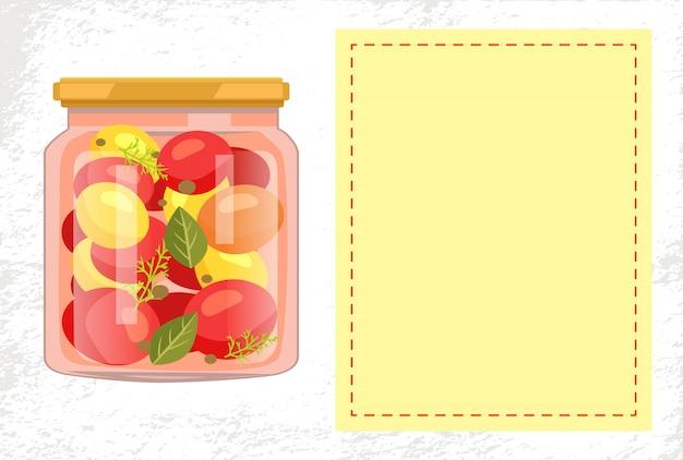 Pot de tomates en conserve avec cadre vide