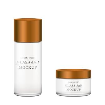 Pot en verre blanc réaliste avec couvercle en plastique bronze pour les cosmétiques